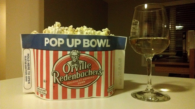 E. Guigal Cotes du Rhone and O. Redenbacher Pop Up Bowl